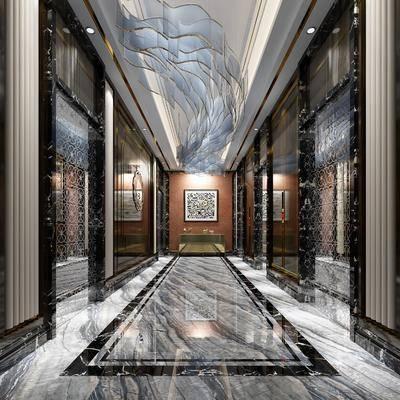 玄关过道, 造型水晶灯, 刻花玻璃, 端景台, 造型硬包, 装饰画, 挂画, 墙饰, 中式