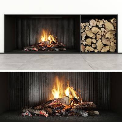 现代, 壁炉, 单体