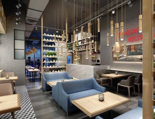 北欧, 清吧, 沙发椅, 吊灯, 前台, 桌几, 地毯