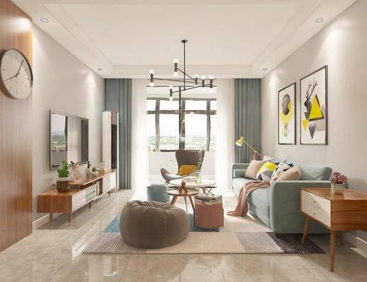 沙发组合, 吊灯, 电视柜, 装饰画, 餐桌, 橱柜组合