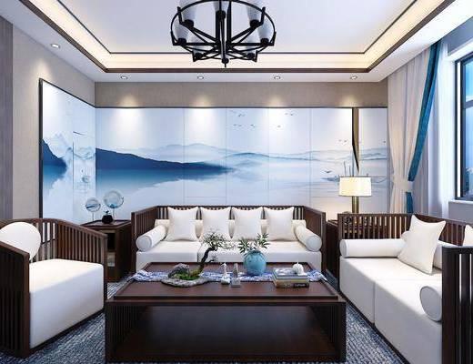 沙发组合, 背景墙, 吊灯, 茶几, 摆件组合