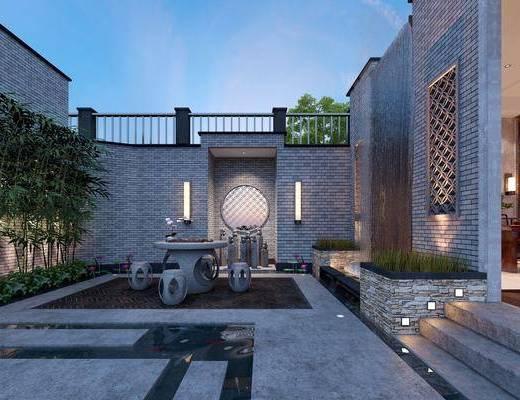 庭院, 花园庭院, 绿植, 凳子, 壁灯, 茶桌, 装饰画, 挂画, 中式, 单人椅, 装饰品, 陈设品