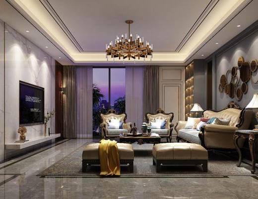 客厅, 沙发组合, 电视柜, 吊灯, 墙饰