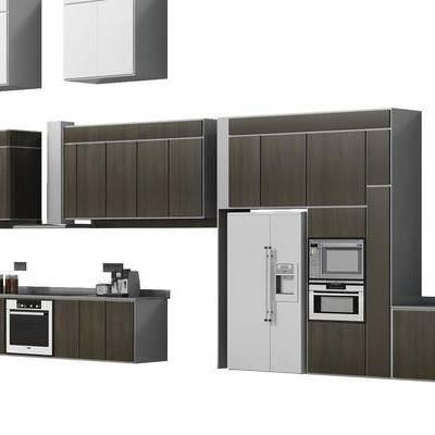 橱柜, 厨柜, 现代, 冰箱, 厨具
