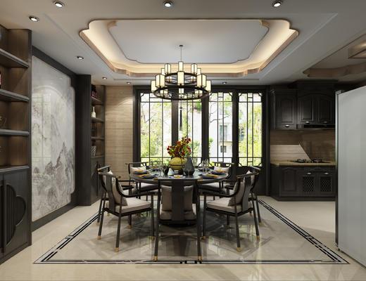 沙发, 茶室, 厨房, 餐厅, 新中式