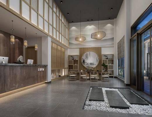 茶馆, 茶楼, 前台, 吊灯, 茶桌, 茶椅, 单人椅, 茶具, 装饰柜, 盆栽, 绿植植物, 新中式