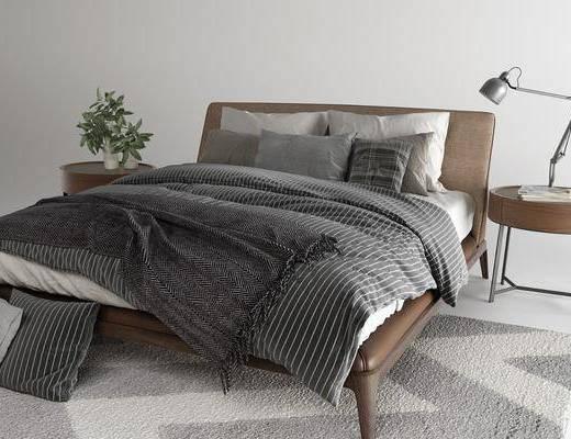 现代, 双人床, 床头柜