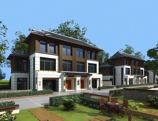 别墅, 连栋别墅, 树木, 绿植植物, 草地, 户外桌椅, 新中式
