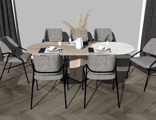 餐桌, 桌椅组合, 花瓶, 餐具组合