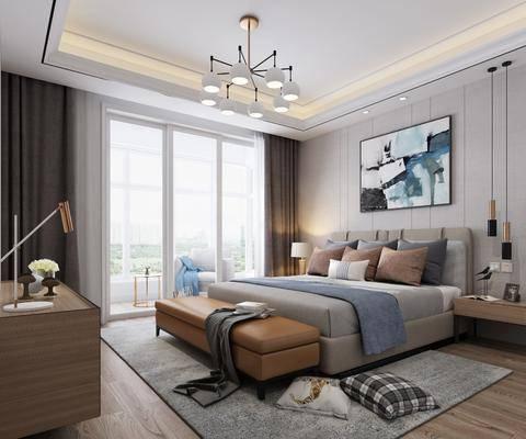 现代卧室, 卧室, 床, 双人床, 挂画, 床尾踏, 吊灯, 边柜, 装饰柜, 床头柜, 摆件, 现代吊灯