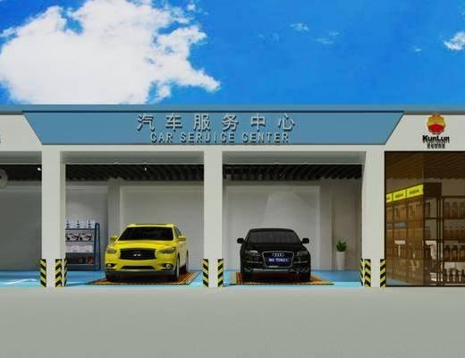 门头, 门面, 汽车, 加油站, 现代