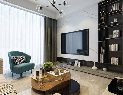 电视柜墙, 单椅, 吊灯, 沙发组合, 茶几, 摆件组合