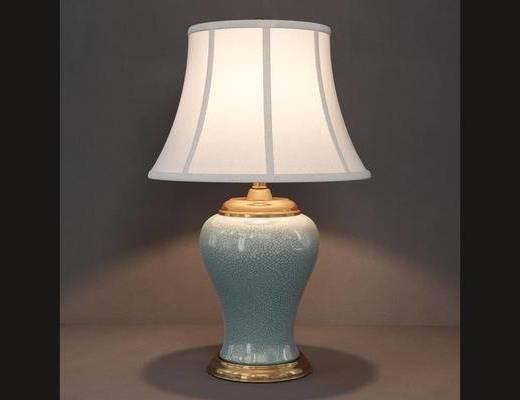 新中式, 新中式台灯, 陶瓷台灯, 台灯, 下得乐3888套模型合辑