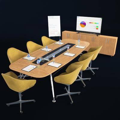 会议桌, 桌子, 椅子, 边柜, 电视柜