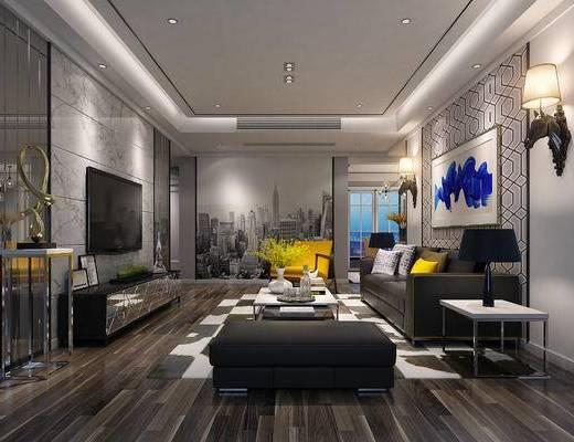 现代, 客厅, 沙发组合, 沙发茶几组合, 现代客厅, 后现代
