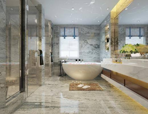 卫浴, 卫生间, 现代卫生间, 浴缸