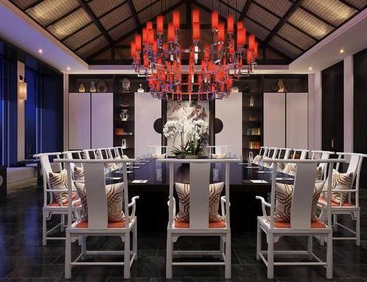 餐厅, 包房, 会所, 中式, 公装, 桌椅组合