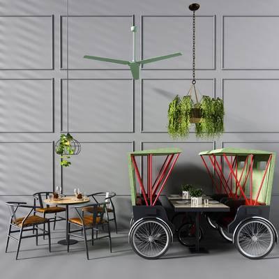 餐桌椅, 椅子, 餐车, 车, 绿植, 风扇, 吊扇, 吊灯