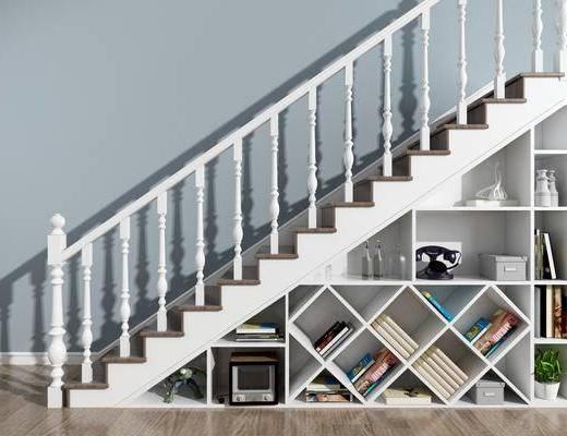 简欧楼梯, 楼梯, 书柜