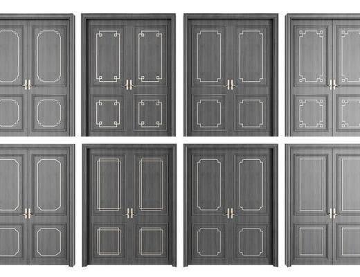 新中式, 门窗, 双开门