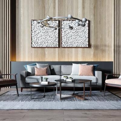 沙发组合, 多人沙发, 双人沙发, 单人沙发, 茶几, 吊灯, 装饰画, 挂画, 现代