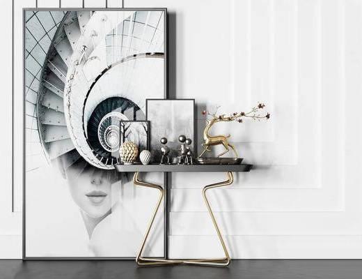 金属玄关, 端景柜, 边几, 摆件, 装饰画, 挂画, 现代