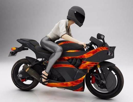 女人, 摩托车, 人物, 现代