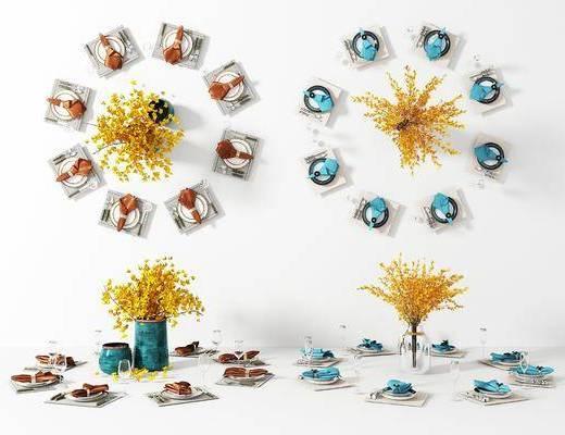 餐桌餐具, 陶瓷器皿, 餐具, 饰品组合, 现代