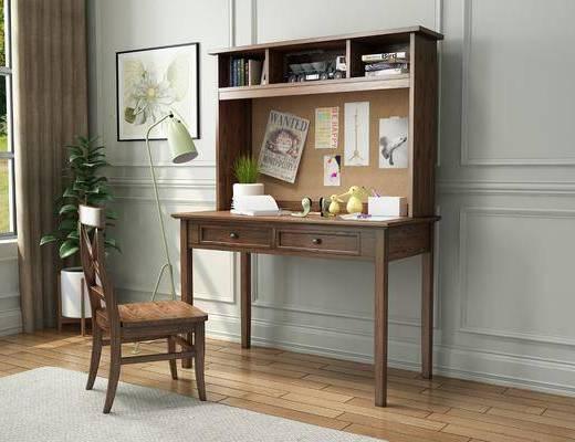 桌椅组合, 摆件组合, 书桌, 装饰画, 落地灯