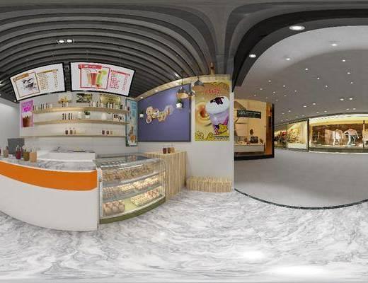奶茶吧, 家装全景, 前台接待, 面包店, 摆件组合, 现代