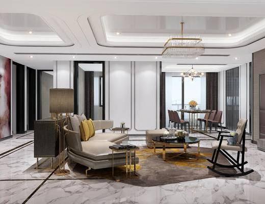 现代客厅, 现代餐厅, 现代, 现代吊灯, 金属吊灯, 沙发组合, 装饰柜