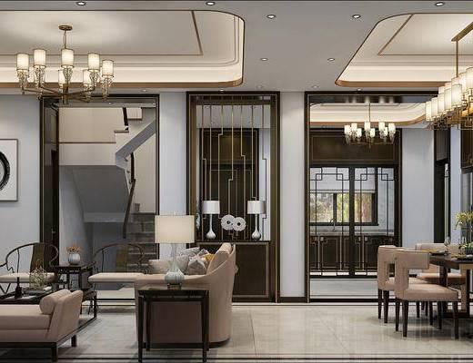 客厅, 餐厅, 客餐厅, 新中式轻奢客餐厅, 沙发组合, 茶几, 单椅, 吊灯, 桌椅组合, 花瓶花卉, 餐具, 装饰柜, 台灯, 新中式