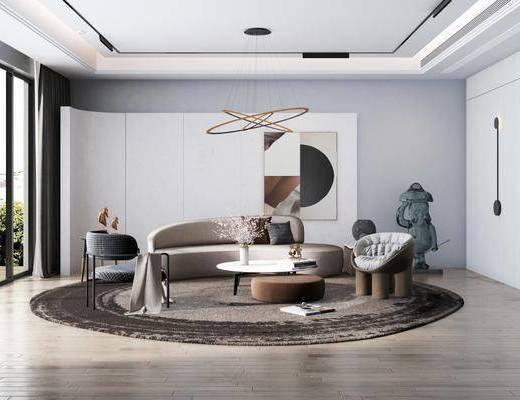 沙发组合, 装饰画, 茶几, 吊灯, 单椅, 地毯