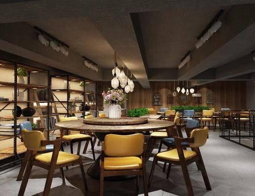 工业风咖啡厅, 咖啡厅, 桌椅组合, 植物墙, 多人沙发, 单椅, 花瓶, 花卉, 摆件, 植物, 盆栽, 吊灯, 置物架, 工业风