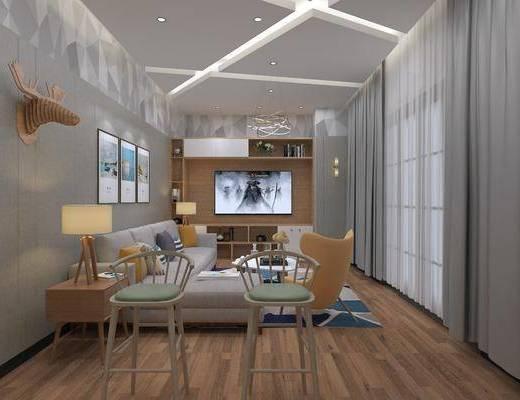 客厅, 多人沙发, 单人椅, 茶几, 单人沙发, 边几, 台灯, 转角沙发, 墙饰, 装饰柜, 摆件, 装饰品, 陈设品, 装饰画, 挂画, 组合画, 现代