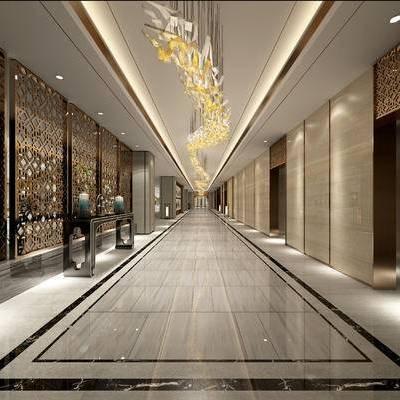 走廊, 过道, 现代, 电梯厅, 大型吊灯