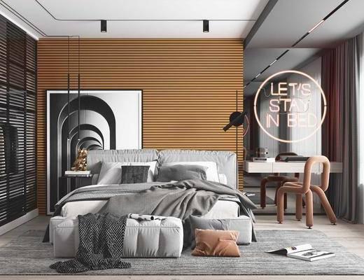电视柜, 背景墙, 双人床, 桌椅组合, 装饰画
