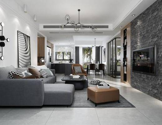 客厅, 餐厅, 现代客餐厅, 现代沙发组合, 沙发, 茶几, 摆件, 装饰灯, 装饰品, 吊灯, 餐桌, 桌椅组合, 橱柜, 现代