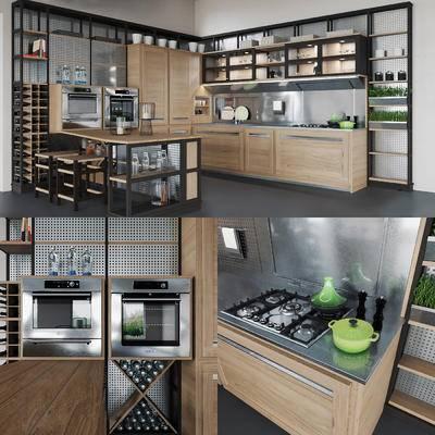 橱柜, 现代, 厨房, 厨柜, 厨具, 烤箱, 碗碟