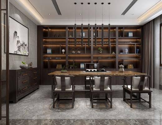 茶室, 茶桌, 单人椅, 桌子, 装饰柜, 边柜, 装饰画, 挂画, 吊灯, 摆件, 装饰品, 陈设品, 盆栽, 新中式