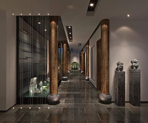 走廊, 过道, 新中式?#39057;?#36208;廊, 盆栽, 雕塑雕刻