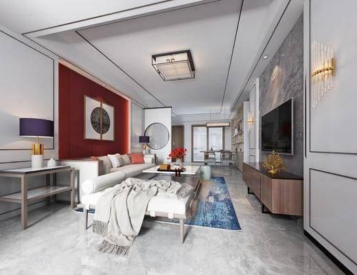 客厅, 餐厅, 新中式客餐厅, 沙发组合, 茶几, 摆件组合