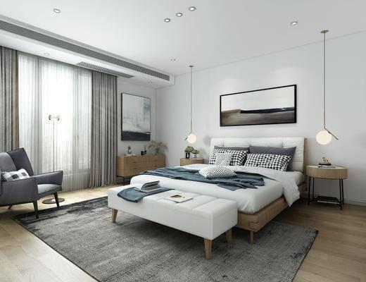 现代卧室, 卧室, 北欧卧室, 双人床