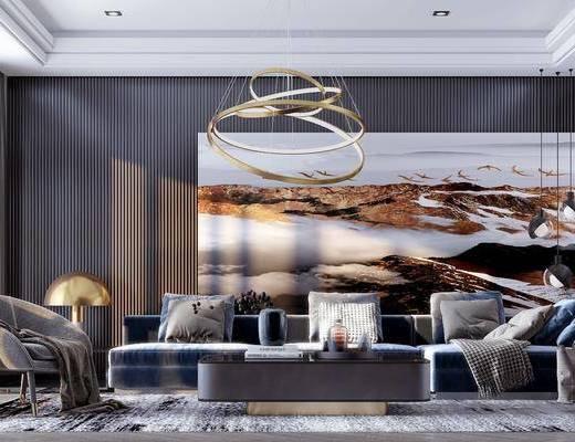 現代, 客廳, 沙發組合, 茶幾組合