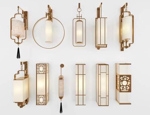 新中式, 壁灯, 3D模型, 单体