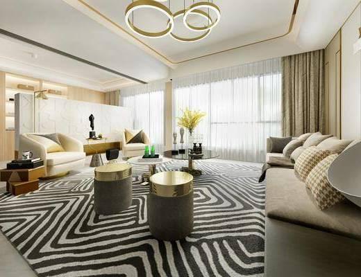 客厅, 多人沙发, 茶几, 凳子, 单人沙发, 吊灯, 落地灯, 摆件, 装饰品, 陈设品, 现代