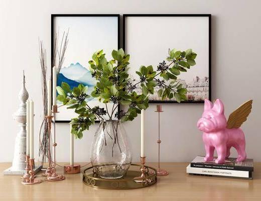摆件组合, 装饰画, 挂画, 装饰品, 陈设品, 花瓶, 绿植植物, 现代