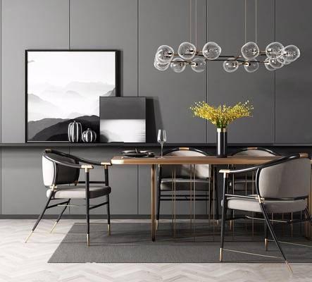 北欧简约, 桌椅组合, 吊灯, 花瓶, 餐具组合, 北欧