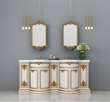 ?#35789;?#21488;, 卫浴镜, 吊灯组合, 花瓶花卉, 装饰镜, 欧式