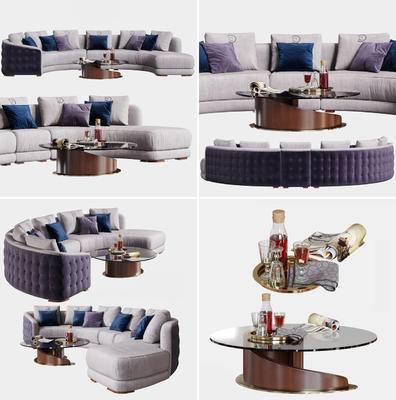 沙发, 沙发组合, 沙发茶几组合, 后现代, 现代, 多人沙发